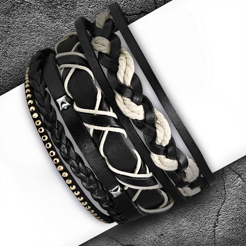 Кожаный тройной браслет